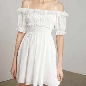 White Eyelet Off-Shoulder Mini Dress NWT